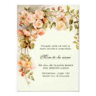 Vintage rose baby shower invitations announcements zazzle vintage roses antique flowers floral baby shower invitation filmwisefo