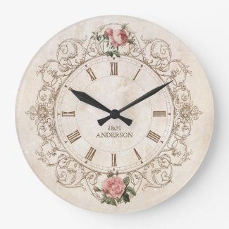 Vintage Roses Antique French Wall Clock