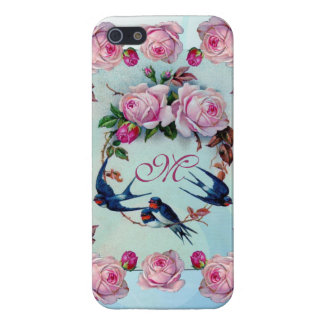 Vintage Roses, birds and Monogram Cover For iPhone 5