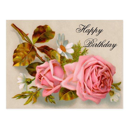 Vintage Roses Birthday Postcard Zazzle Com