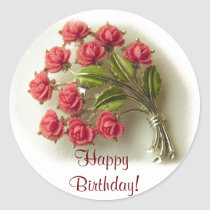 Vintage Roses Birthday Sticker