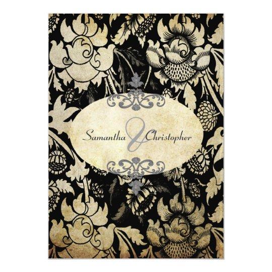 Vintage Roses Black + parchment 5x7 invitations