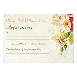 Vintage Roses Bouquet Floral Wedding RSVP Card