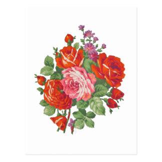 Vintage roses bouquet postcard