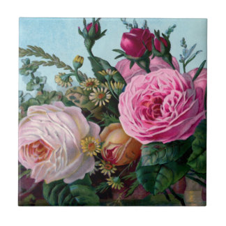 Vintage Roses Ceramic Tile