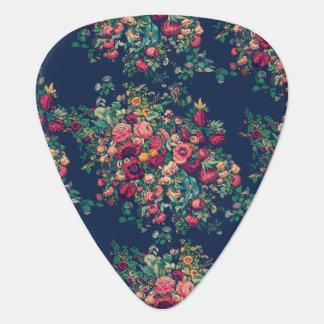 Vintage Roses Classic Blue Color Rich Damask Guitar Pick