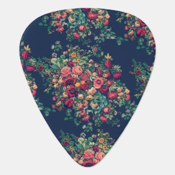 Vintage Roses Classic Blue Color Rich Damask Guitar Pick by TimelessManePatterns at Zazzle