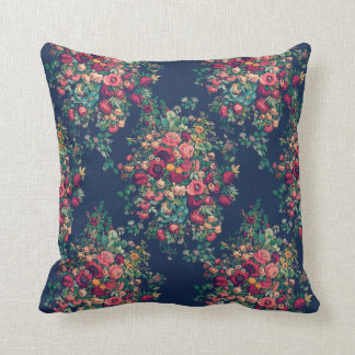 Vintage Roses Classic Blue Color Rich Damask Throw Pillow
