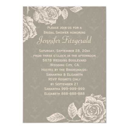 Vintage Roses Cream on Dusty Gray Bridal Shower 5x7 Paper Invitation Card