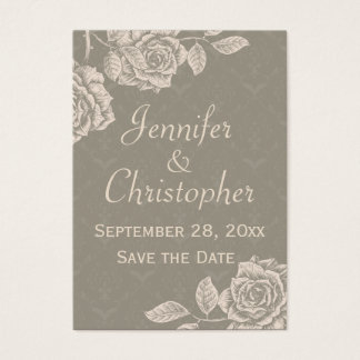 Vintage Roses Cream on Dusty Gray Save the Date Business Card