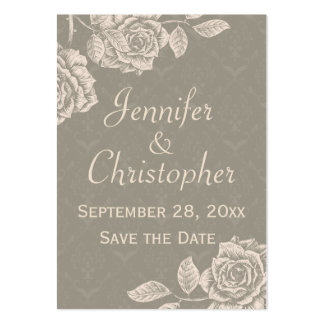 Vintage Roses Cream on Dusty Gray Save the Date Large Business Card