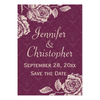 Vintage Roses Cream on Magenta Save the Date Large Business Card