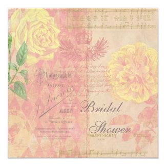 "Vintage Roses, Crown & Music Bridal Shower Collage 5.25"" Square Invitation Card"