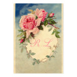 Vintage Roses Custom Monogram Business Card