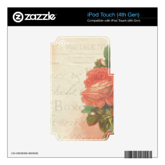 Vintage Roses Decal For iPod Touch 4G