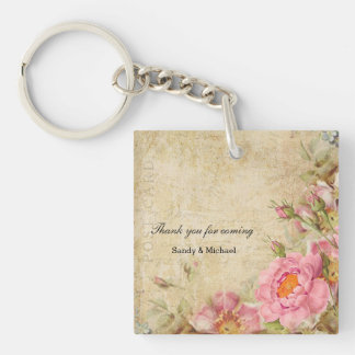 Vintage Roses Double-Sided Square Acrylic Keychain