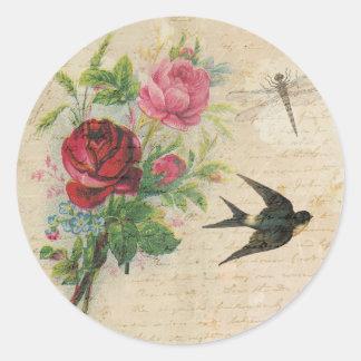 Vintage Roses Elegant Floral Bird Dragonfly Chic Classic Round Sticker