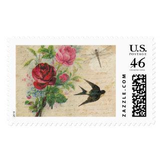 Vintage Roses Elegant Floral Bird Dragonfly Chic Postage Stamp