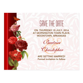 vintage roses elegant victorian save the date card postcard