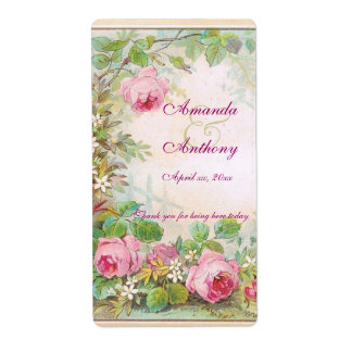 Vintage Roses English Garden Wine/Water Label