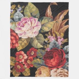 Vintage Roses Fine Floral Nature Fleece Blanket
