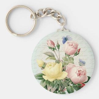 Vintage roses floral feminine keychain