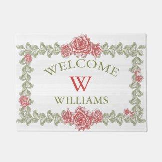 Vintage Roses Floral Frame Doormat
