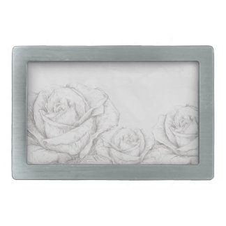 Vintage Roses Floral Grey Decorative Belt Buckle