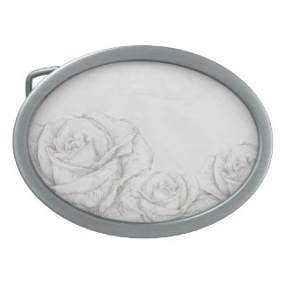 Vintage Roses Floral Grey Decorative Oval Belt Buckle