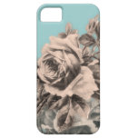 Vintage Roses Floral on Blue iPhone 5 Cases