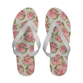 Vintage Roses Floral Pattern Sandals