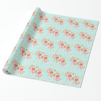 Vintage roses floral shabby wedding wrappingpaper wrapping paper