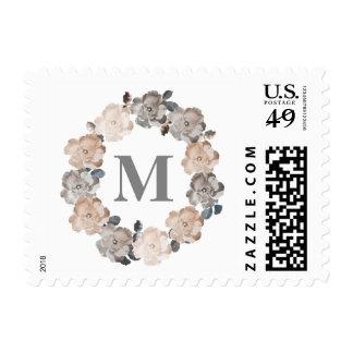 Vintage Roses Floral Wreath Monogram Stamp