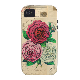Vintage Roses French Postcards 4 Case Case-Mate iPhone 4 Covers