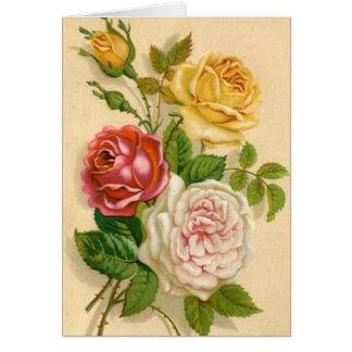Vintage Roses, German Birthday Card