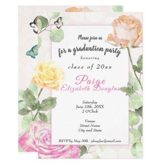 Vintage Roses Graduation Invitation