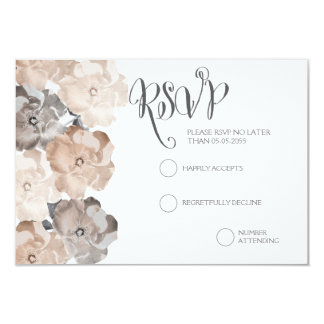 "Vintage Roses Gray Wedding RSVP Cards 3.5"" X 5"" Invitation Card"