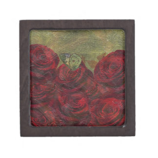 Vintage Roses Green Oil Painting Gift Box
