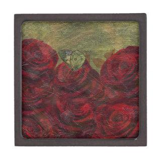 Vintage Roses Green Oil Painting Keepsake Box