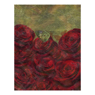 Vintage Roses Green Oil Painting Letterhead