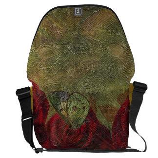 Vintage Roses Green Oil Painting Messenger Bag