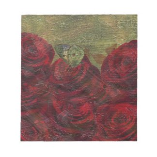 Vintage Roses Green Oil Painting Notepad