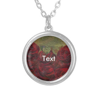 Vintage Roses Green Oil Painting Round Pendant Necklace