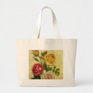 Vintage Roses Grunge Tote Bags