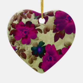Vintage Roses Hips Double-Sided Heart Ceramic Christmas Ornament