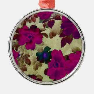 Vintage Roses Hips Round Metal Christmas Ornament
