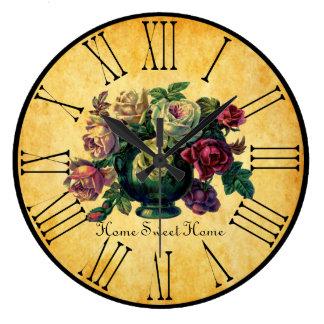 Vintage Roses Home Sweet Home Bistro Inspired Large Clock