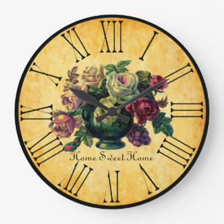 Vintage Roses Home Sweet Home Rustic French style Large Clock