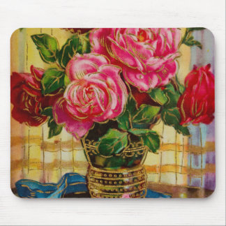 Vintage Roses In A Vase Mouse Pad