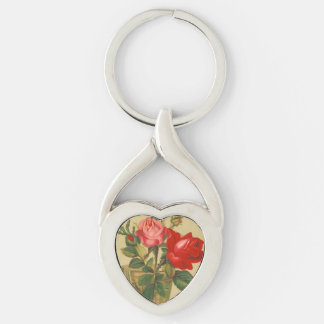 Vintage Roses in a vase Silver-Colored Heart-Shaped Metal Keychain